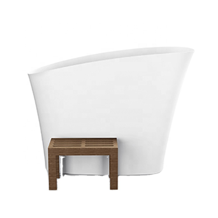 Manufacturer independent one-piece chaise longue bathtub artificial stone bathtub for hotel villas