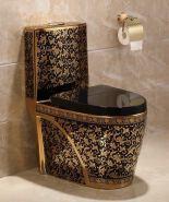 8836G Hot sale golden toilet luxury western style design black one-piece toilet bowl