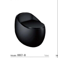 8801 brand new egg-shape black toielt wc one-piece siphonic hotel toilet commode