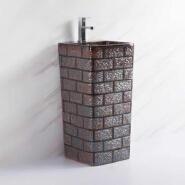 110801 Unique Brown brick pattern design pedestal basin washing ceramic sink standing