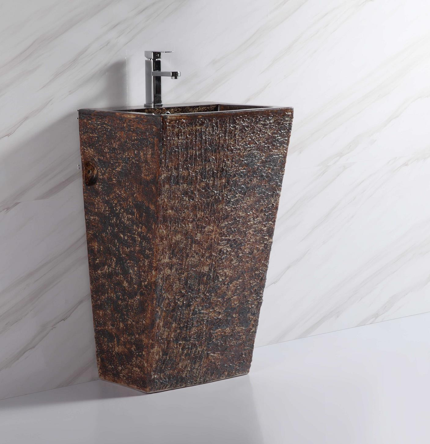 110903 hot sale bathroom red and brown color square shape ceramic pedestal basin sink with standing for noble