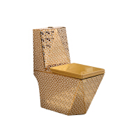 8866G  Hot sale golden toilet luxury western style design diamond shape one-piece toilet bowl