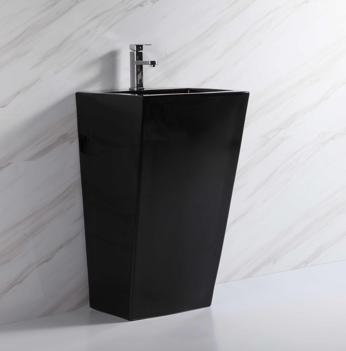 110911 factory direct black color ceramic pedestal basin square shape sink with standing for hotel