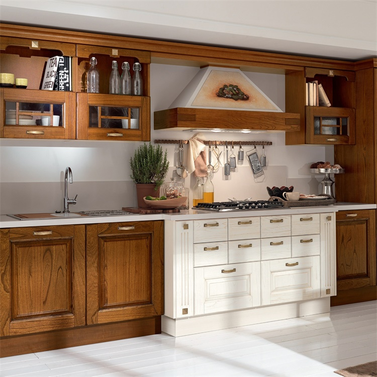 American Traditional Units Set Kitchen Royal Style Solid Wood Cabinet Kitchen