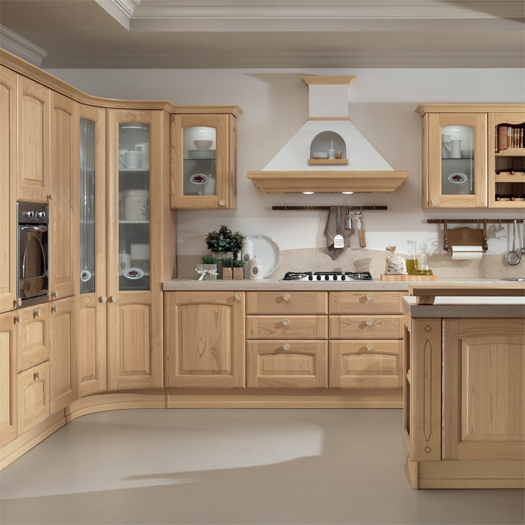 Australian Apartment RTA Traditional Cabinet Set Cabinets Wood Kitchen With Island