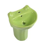 3277 hot sale green color frog shape Ceramic WC baby one piece pedestal basin for children lavatory