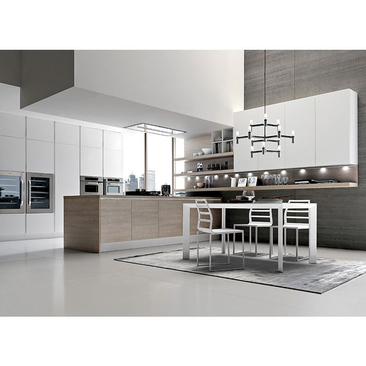 White MDF Lacquer Shaker Door Style Kitchen Cabinets With Big Island