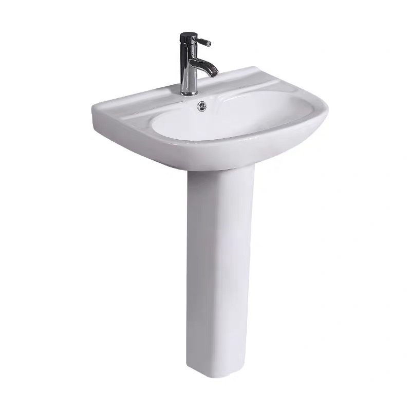 6012 hot sale bathroom classical ceramic two piece pedestal basin sink with standing