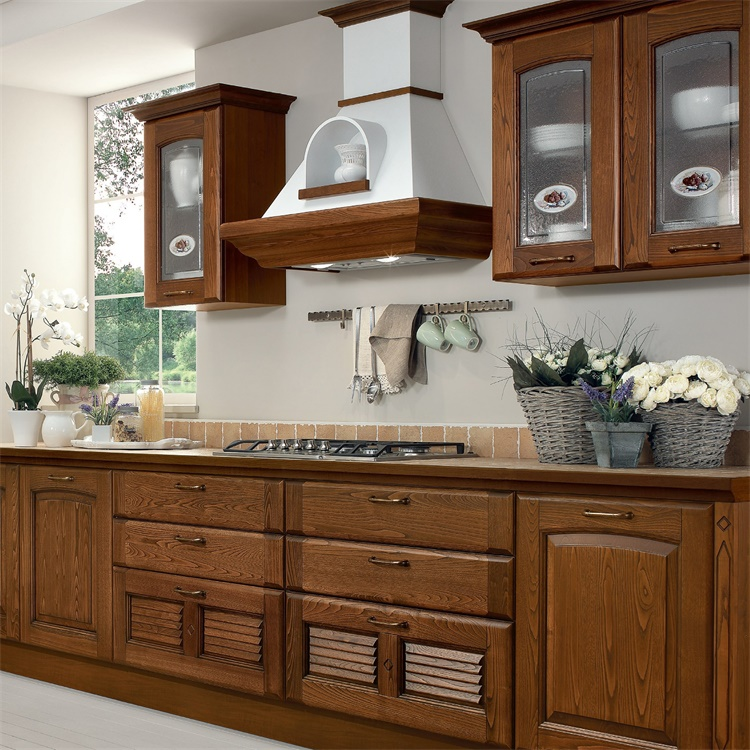 Wholesale European Classic Custom Luxury Style Open Solid Wood Kitchen Cabinets