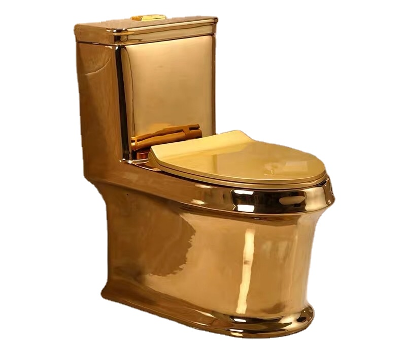 Hot selling gild golden toilet luxury western style design one-piece toilet bowl