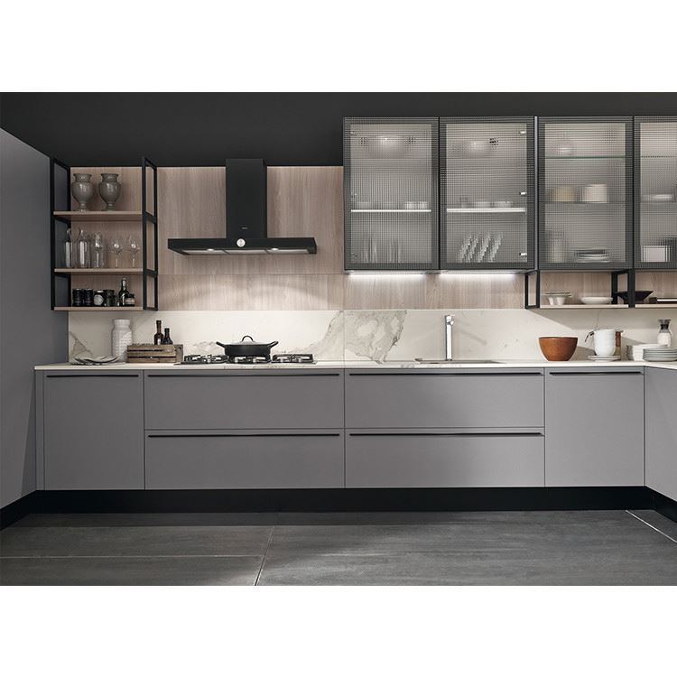 White Modern Design High Gloss L Curved Shaped Lacquer Kitchen Cabinets