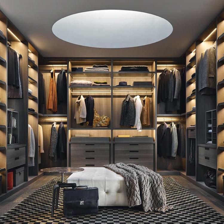 New Design Sliding Door Modern Simple Wooden Combination Bedroom Brown Wardrobe