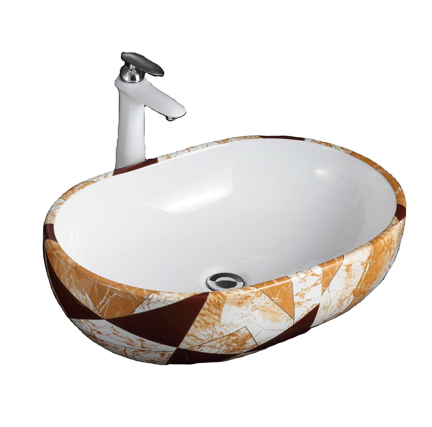 5012bp High quality wholesale modern fashion ceramic bathroom sink black water drop pattern design art basin