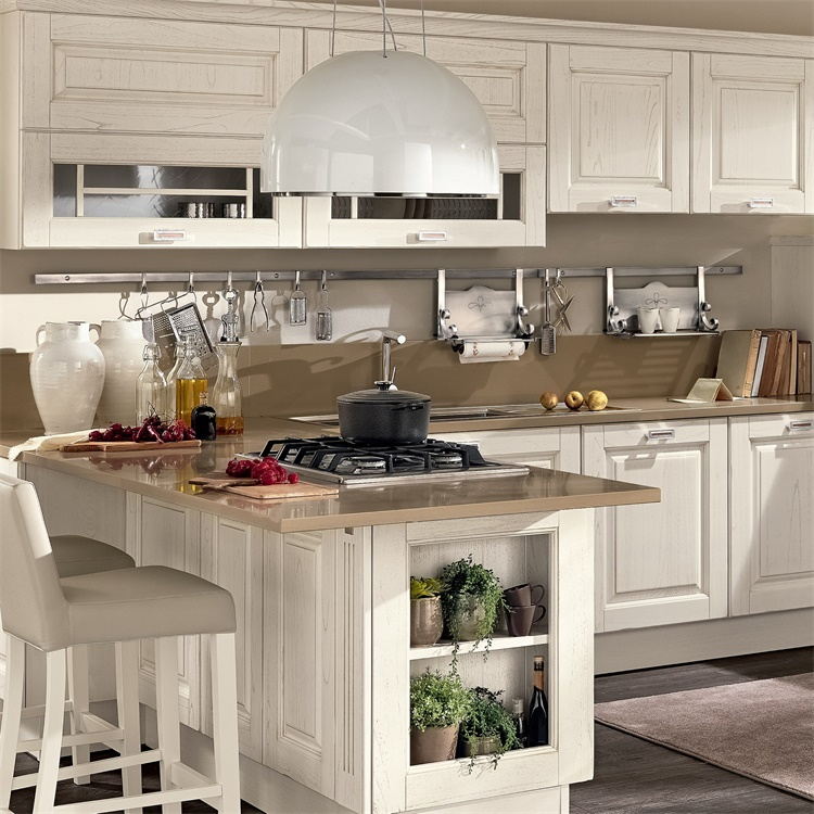 Antique Style House Furniture Standard High End Solid Wood Kitchen Cabinets