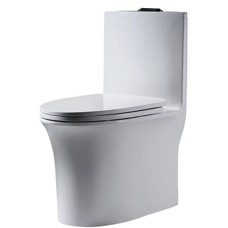 Modern design slim water tank ceramic siphon flushing one piece toilet wc