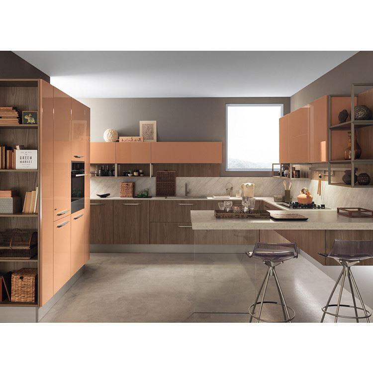 Yellow Painted Shaker Door Kitchen Customized Modular Wood Kitchen Design European Style Kitchen Set