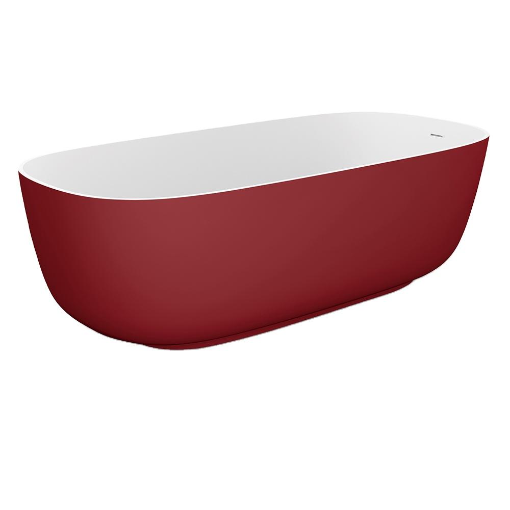 Design artificial stone freestanding bathtub suitable for modern bathroom hotel