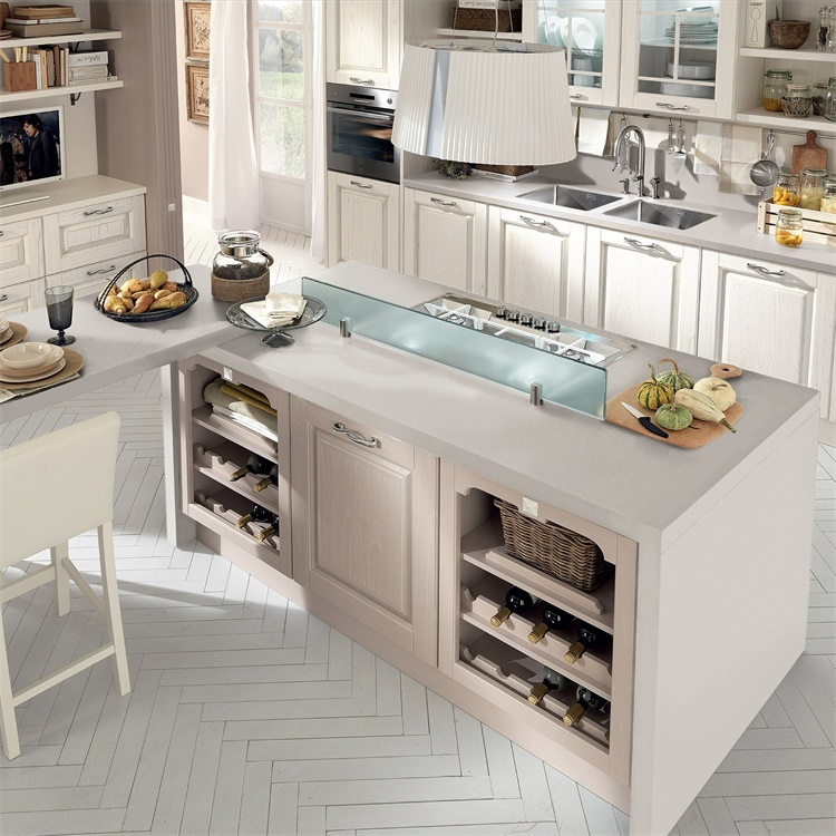 American Contemporary L Shaped Real Solid Wood Shaker Kitchen Cabinets Simple Designs