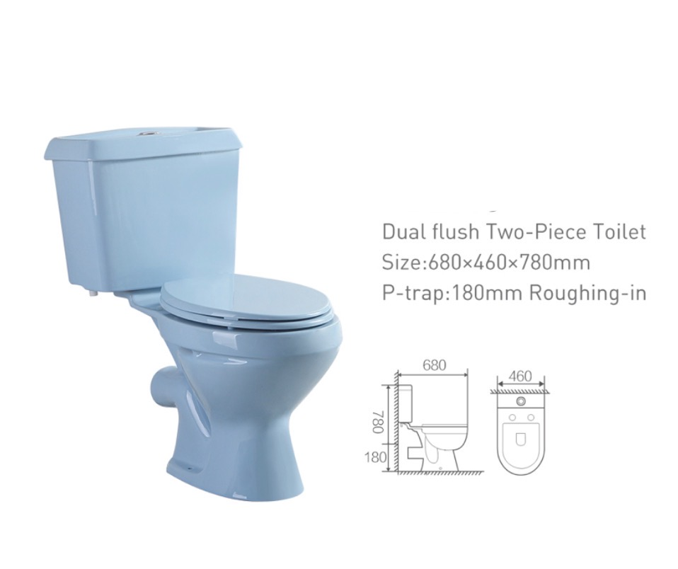 Cheap Price Chaozhou Sanitary Ware Bathroom Ceramic high quality flushing colored two piece toilet hot sale for African market