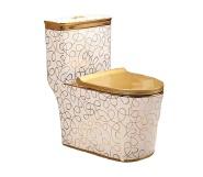 8846G Factory Direct golden toilet with flower pattern design golden one-piece toilet bowl