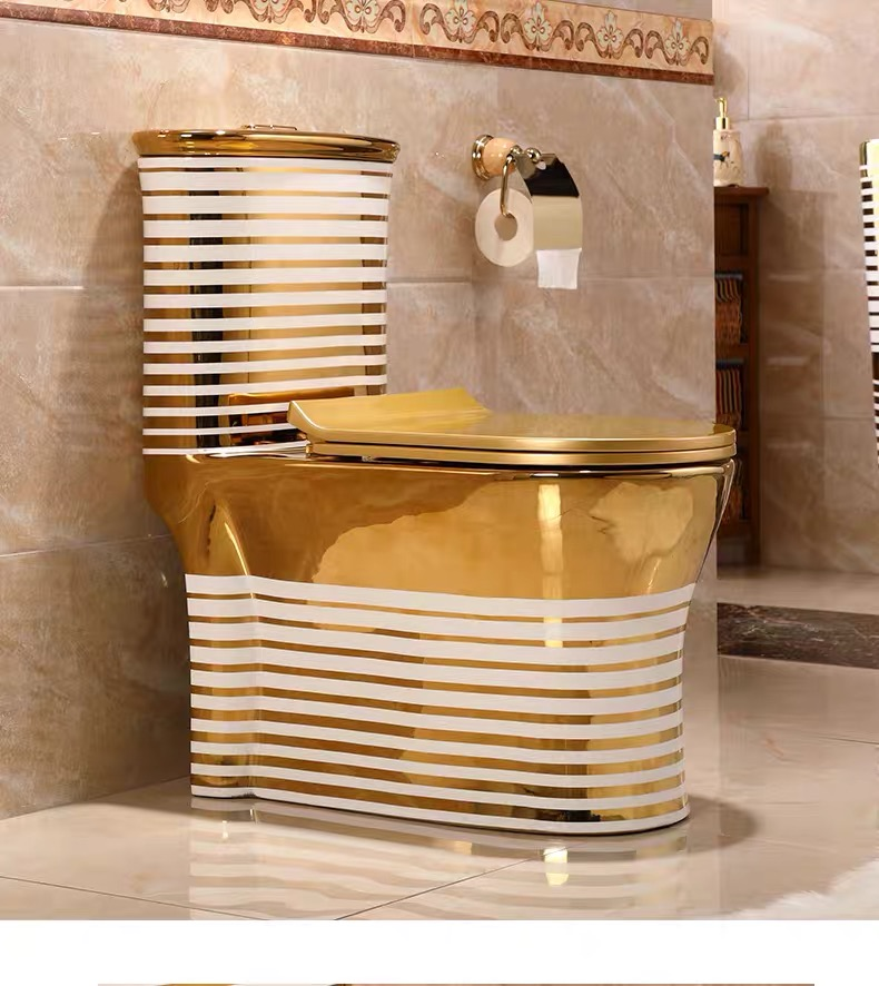 8822G Hot selling golden toilet luxury western style design one-piece toilet bowl