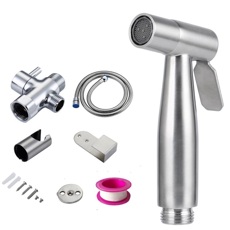 Luxury 304 Stainless Steel Soft Toilet Water Sprayer Muslim Shower Bathroom Handheld Diaper Bidet Sprayer