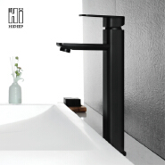 Faucet bathroom hot and cold single handle basin faucet black brass