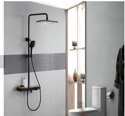 HIDEEP wall mounted bathroom shower faucet set hot cold black shower faucet