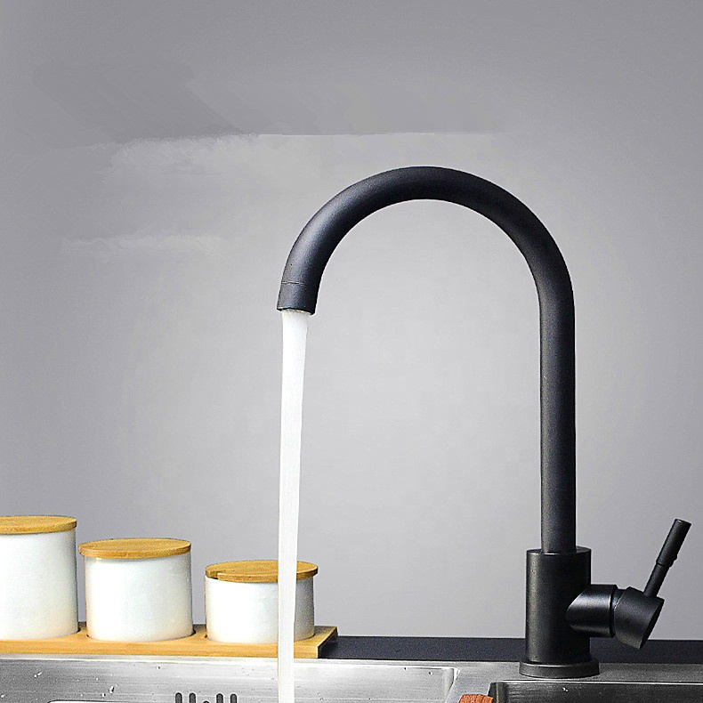 304 Stainless Steel Hot and Cold Sink Faucet Painted Black and White Kitchen Faucet