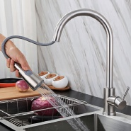 Easy to install 304 stainless steel kitchen pull-out faucet hot and cold drawing sink drawing faucet