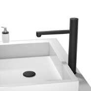 Hot Cold water Tap Single Handle Button Control Bathroom Faucet Black Brass Basin Faucet