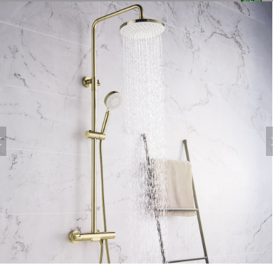 Wall Mounted Bathroom Bath Brushed Gold Shower Mixer Thermostatic Rain Shower Faucet Set