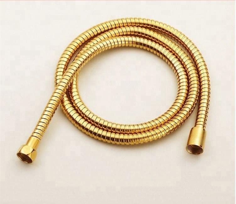 1.5m Flexible Brass Material Chrome Shower Head Double Tube Gold Flexible Hose
