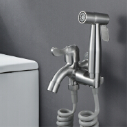 HIDEEP Single Cold Water Valve Handheld Shattaf Sprayer Toilet Douche Spray with PVC Shower Hose & Base SUS304 Bidet Faucet Set
