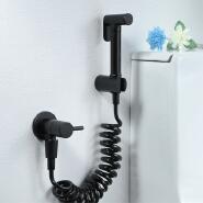 HIDEEP bathroom brass black cylindrical switch single cold toilet sprayer flushing spray gun set