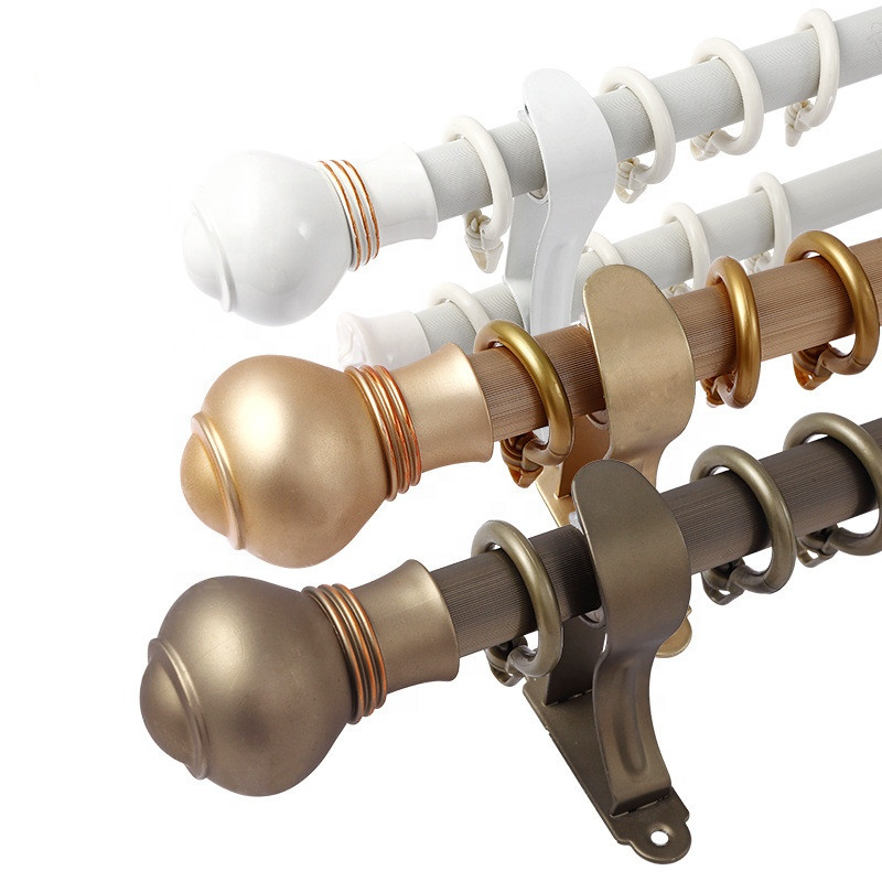 28mm Wall & Ceiling Mount Aluminum Curtain Rod Silence Sliding Curtain Pole with accessories