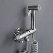 HIDEEP Handheld Bidet Faucet Single Cold Valve with Holder Shattaf Sprayer Bathroom Bidet Tap SUS304 Toilet Bidet Spray Set