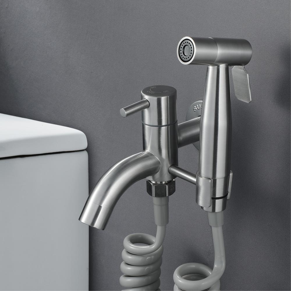 HIDEEP Handheld Shattaf Sprayer Toilet Douche Spray with PVC Shower Hose & Base Bathroom Toilet SUS304 Bidet Faucet Set