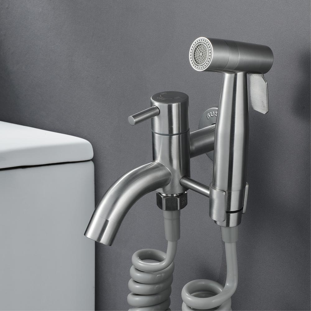 HIDEEP Mop Pool Faucet Handheld Shattaf Sprayer with 1.5m PVC Shower Hose & Base Stainless Steel Toilet Bidet Faucet Set