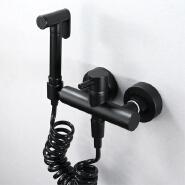 Bathroom toilet brass black single cold toilet sprayer rinse spray gun faucet set