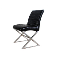 Chinese best price wholesale Bazhou pu leather dining chair with chromed legs