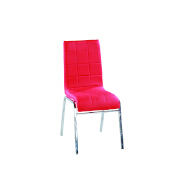 Antique fine dining room furniture stainless steel pu leather red dining chair suitable for home office and restaurant use
