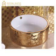 Gold ceramic small corner wash basin