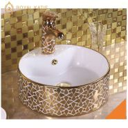 Made In China sanitary ware porcelain gold counter top hand wash basin price