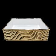 Rectangular ceramic porcelain flower pattern plating gold art basin for home use