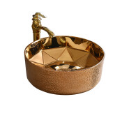 High quality Rose Golden Round Bathroom Sink art basin