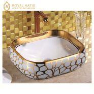Top design art white electroplate bathroom sinks gold wash ceramic basin