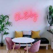 Koncept Free Drop Shipping 50CM Acrylic Silicone Neon Light Electronic Letter Oh Baby Custom Led Neon Sign