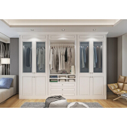 European style PVC bedroom wooden particle board wardrobe