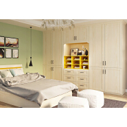 German style Hotel Bedroom White Simple PVC wardrobe